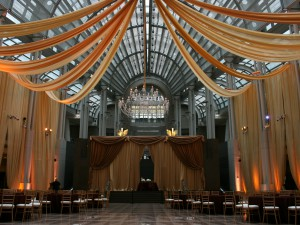Ronal Reagan Building Wedding - Ceiling Swags Draped Backdrop